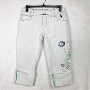 Baby Phat White Cropped Cuffed Embellished Jeans